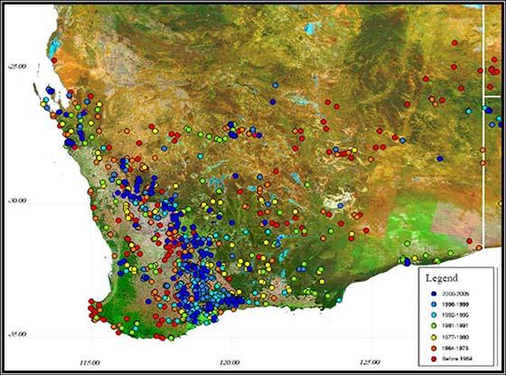 Records of Malleefowl sites in Western Australia